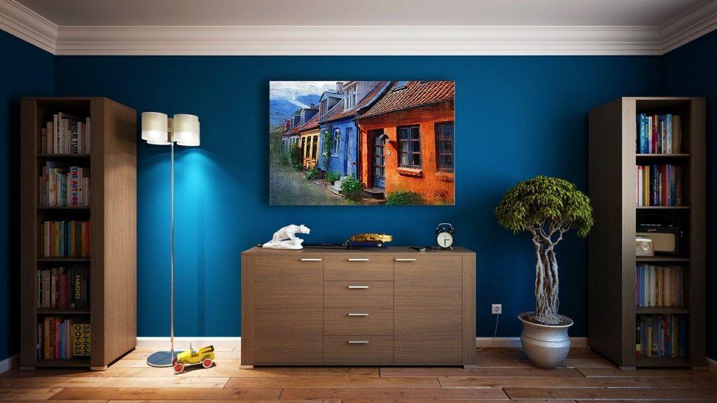 mur bleu couleur